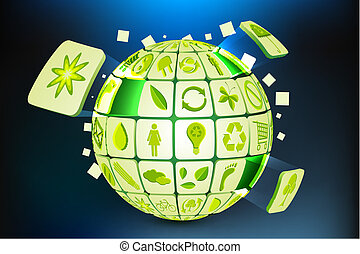 Green Earth - illustration of earth formed by pieces of...