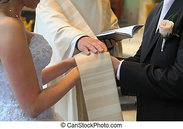 Wedding day - Picture of an engagement couple iin a front of...