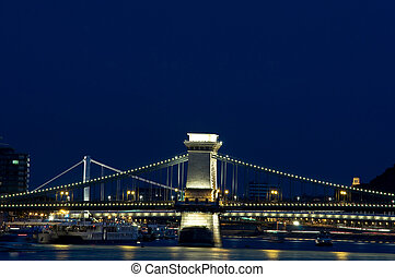 Bridges of Budapest by night