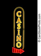 Casino Sign - Casino sign with a red arrow in neon lights...