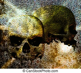Vampire Skull Background - front and side view of two...