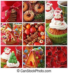 collage, navidad, Pasteles