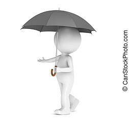Weather Forecast. - 3D little human character with an...