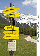Signpost in the Austrian Alps