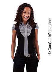 Smiling african american business woman, Isolated over white...