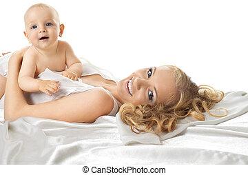 bastante, bebé, sentarse, mamá, seda, Cama