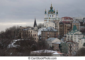 Kiev in winter - View from Zamkova (Castle) Hill to Andrew...