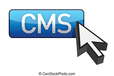CMS blue cursor and  button illustration