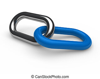 3d blue chrome chain connection security link
