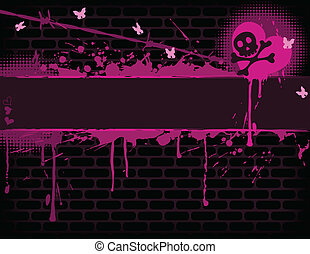 Emo Banner - Emo brick wall with Banner EPS 8 CMYK with...