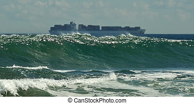 Wave and cargo ship
