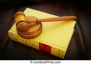 a judges legal gavel and law book