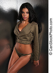 Olive drab - Beautiful young multiracial woman in olive drab