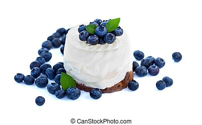 Blueberry cake - Cheesecake with blueberries on white...