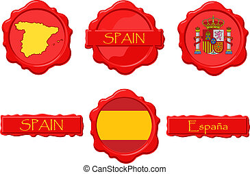 Spain wax stamps with flag, seal, map and name