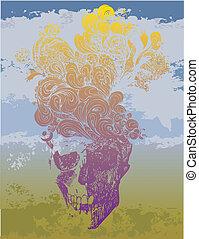 Psychadelic skull vector