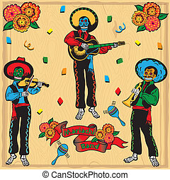 Colorful Day of the Dead Mariachi Band with banner and...