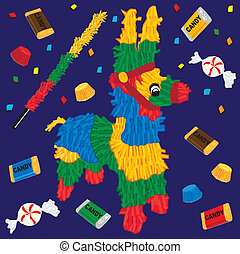 Cute Party Pinata with candy and confetti