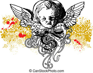 Wicked winged cherub illustration - Wicked cherub vector...