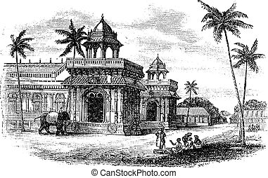 Tanjore Palace, vintage engraving. - Tanjore Palace, vintage...