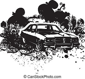 Black and white vintage car - Textured background vintage...