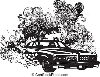 Grunge classic car illustration - Black and white classic...
