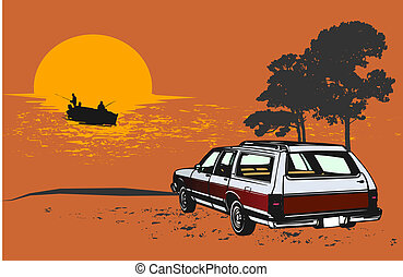 Retro stationwagon scene - Great for illustrations, apparel...
