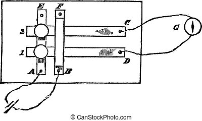 Fig. 2. - Plan a simple power switch, vintage engraving. -...