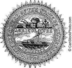 Seal of the State of Tennessee, vintage engraving. - Seal of...