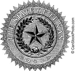 Seal of the State of Texas, vintage engraving. - Seal of the...