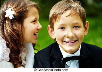 Boy groom - Portrait of boy groom looking at camera with his...