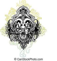 Warrior skull illustration