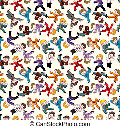 cartoon chinese Kung fu seamless pattern