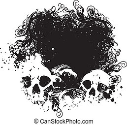 strach, czaszka, Ilustracja