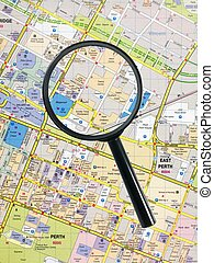 Road Map - A road map with a magnifying glass