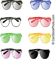 Colorful sunglasses - Set of eight aviator eyewear of...