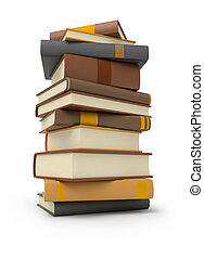 books - stack of books 3d image Isolated white background