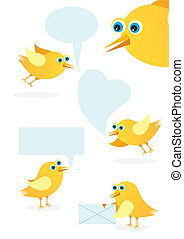 Speech bubble with cute bird