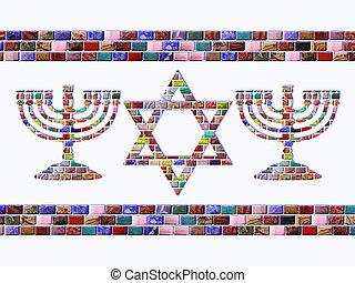 Two menorah and Star of David of colored gemstones with two...