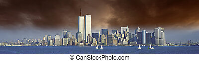 Sunset over New York and World Trade Center, U.S.A.