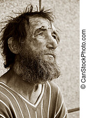 Homeless man - Despair of homeless tramp.