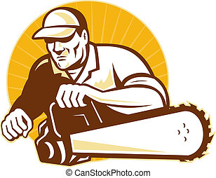 arborist tradesman cutter with chain saw - illustration of...