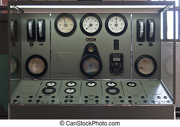 Central dashboard with indicators of thermal water and steam...