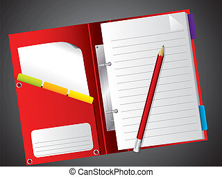 Notepad with pencil - Open red notepad with red pencil on...