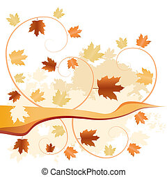 abstract autumn fallen leaves background - vector...