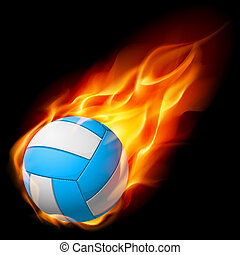 Realistic Fire volleyball Illustration on white background