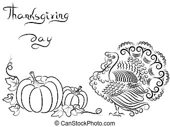 Background with turkey and pumpkins and text for text