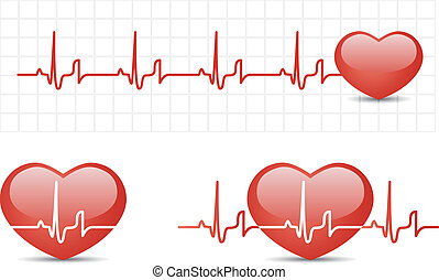 Heart cardiogram with heart Vector illustration set