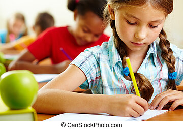 Girl at lesson - Portrait of lovely girl drawing in copybook...