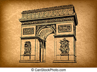 arch of triumph on the brown background